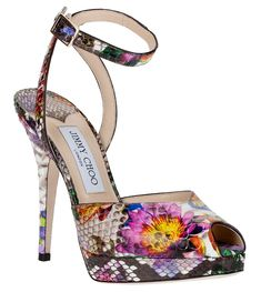 JIMMY CHOO Liz floral python leather sandal