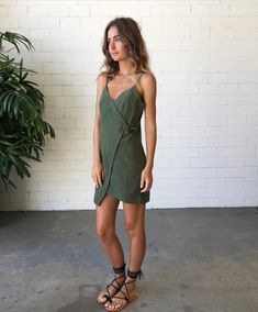 utility buckle dress in neutral olive