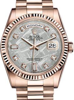 118235F Meteorite set with diamonds Rolex Day-Date 36 Everose gold Fluted Bezel President - швейцарские женские часы Ролекс - наручные, золотые с бриллиантами, перламутровые