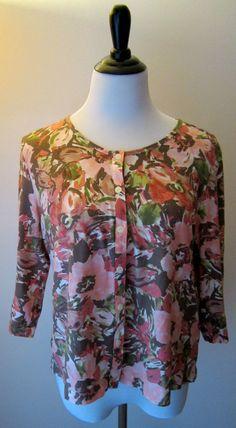 J Jill 100% Pima Cotton Floral Button Front Knit Top Cardigan Size Petite Large #JJill #KnitTop #Casual
