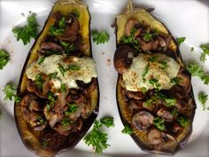Roasted eggplants with mushroom tehina stuffing