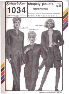 Stretch & Sew Sewing Pattern 1034 Shapely Jackets Size: Bust 30-46 Uncut