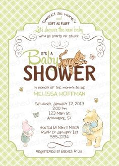 Classic Winnie the Pooh Baby Shower Invitations. (These are my favorite)!!!