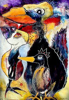 Original LABEDZKI Painting Outsider Art Under My Wing 28x40 in Mixed Media | eBay