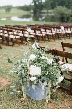 rustic wedding ceremony via Alisandra Photography / http://www.deerpearlflowers.com/rustic-wedding-details-and-ideas/3/