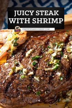 Strip steaks deliciously topped with shrimp and scampi butter. Learn how to cook a surf and turf dinner on the grill with this easy recipe. Best Beef Recipes, Shrimp Recipes Easy, Beef Recipes For Dinner, Barbecue Recipes, New Recipes, Grilled Steak Recipes, Grilled Beef, Beef Ribs, Beef Steak
