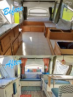 BEFORE/AFTER - This is my Pop up renovation on a 2003 Coleman Bayside Elite camper #Pimpmypopup #Popuprenovation #rvremodel #Popupredo #popupprincess #Popupideas #campermakeover