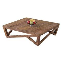 lounge-zone Großer Couchtisch XXL Sofatisch TRAVES Sheesham Holz 100% Massivholz braun quadratisch 90x90cm 13564
