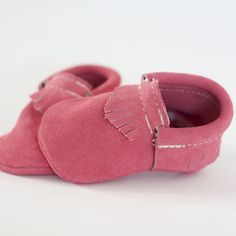 Handmade Moccasins for Kids - Suede Pink. I think we need a matching pair.