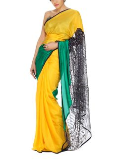 Yellow and Green Silk Saree at strandofsilk.com  Gorgeous sarees by Mandira Bedi in vibrant colours. Perfect for times that call for something extra and a little special. Shop the Mandira Bedi collection at https://strandofsilk.com