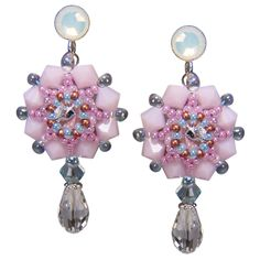 Rocailles-Ohrhänger mit Glastropfen - Pretty in pink and glass // Earrings | Perlotte Schmuck