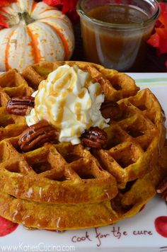 Enjoy this recipe for fluffy Pumpkin Buttermilk Waffles this fall with a few simple ingredients and in less than 20 minutes! Breakfast Dishes, Eat Breakfast, Breakfast Recipes, Pumpkin Breakfast, Mexican Breakfast, Breakfast Sandwiches, Breakfast Ideas, Pumpkin Waffles, Pancakes And Waffles