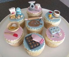 baking themed cupcakes - these are adorable! Themed Cupcakes, Fun Cupcakes, Baking Cupcakes, Fondant Cupcake Toppers, Cupcake Cakes, Fancy Cakes, Mini Cakes, Novelty Cakes, Cake Decorating Tips