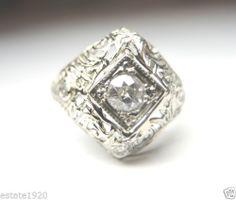 Antique European Diamond Engagement Ring 18K Art Deco Vintage Estate Wedding Fine Jewelry CIRCA ~ 1930's.