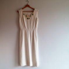 vintage 1960's dress // beaded floral neckline // summer wedding dress // minimalist dress by NVCollective on Etsy