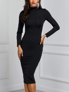 1589c98fdb9b High Neck Long Sleeve Slinky Midi Dress