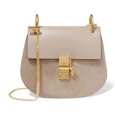 Chloé Drew small leather and suede shoulder bag (106,565 MKD) ❤ liked on Polyvore featuring bags, handbags, shoulder bags, grey, cell phone shoulder bag, grey leather handbag, chloe purses, gray leather handbag and gray leather purse