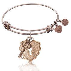 """Key to My Heart"" Rose Brass Bangle"