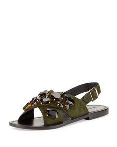 Jeweled+Calf-Hair+Flat+Sandal,+Pine+by+Marni+at+Neiman+Marcus.