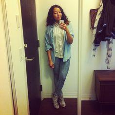 Vintage denim, same vintage Kelly blouse, Lothian booties | ootd | Shoppalu.com