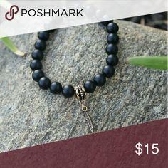 """Follow your arrow"" charm bracelet Handmade elastic matte black with gold arrow charm Jewelry"