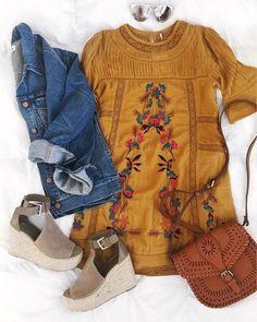 spring dress & denim jacket