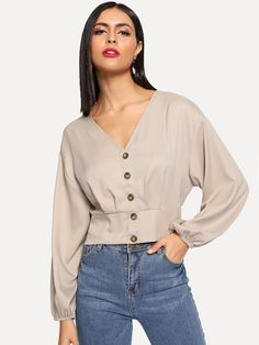 Shop Crop Button Up Shirred Back Blouse online. SHEIN offers Crop Button Up Shirred Back Blouse & more to fit your fashionable needs. Myanmar Traditional Dress, Casual Outfits, Fashion Outfits, Spring Shirts, V Neck Blouse, Blouse Online, Types Of Sleeves, Blouse Designs, Fashion News