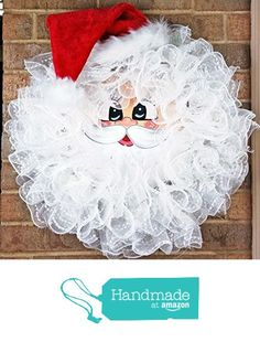 Handmade Santa Deco Mesh Wreath - Christmas Santa Wreath - Holiday Santa Face Wreath - Santa Claus Wreath - Merry Christmas Santa Door Decor - Large from Pleasant Expressions https://www.amazon.com/dp/B01LX0ALE4/ref=hnd_sw_r_pi_dp_o-zszbQJ6690K #handmadeatamazon