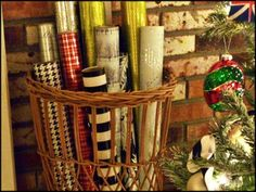 Use your wrapping paper as a decoration by putting it in a basket by your tree, ready for wrapping a present