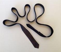 Vintage 1950's 1960's VERY SKINNY Mens Black Silk by fourBvintage