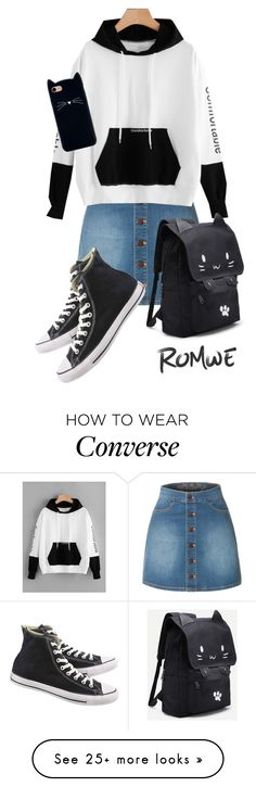 """""""Black cat white cat"""" by szeying00 on Polyvore featuring LE3NO and Converse"""