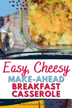 Make this easy breakfast casserole any time you want a warm breakfast with little work. With potatoes, cheese and your choice of bacon or sausage, it's sure to please everyone in the house! Easy Breakfast Casserole Recipes, Beef Casserole Recipes, Top Recipes, Amazing Recipes, Dessert Recipes, Healthy Breakfast On The Go, How To Make Breakfast, Easy Family Meals, Easy Meals