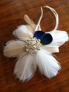 feather wrist corsage.