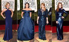 Top 10 Globo de Ouro 2016 - Azul - Kate Winslet, Gina Rodriguez, Bryce Dallas e Julianne Moore (Foto: AFP)