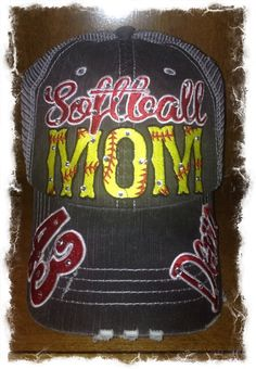 Softball or Fast pitch Mom Hat by RebelChicks on Etsy