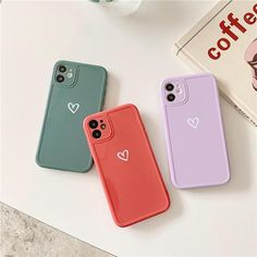 Cute Love Heart Phone Case For iPhone 13 12 Pro Max 11 XS Max XR X Mini SE20 Camera Protection Candy Color Shell - For iPhone 13 Pink