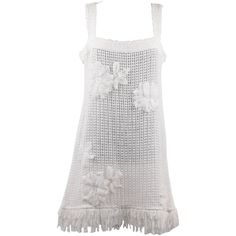 CHANEL White Pure Cotton SLEEVELESS Shift DRESS w/ Flowers Size 40 ($2,170) ❤ liked on Polyvore featuring dresses, sleeveless cotton dress, white day dress, flower dress, chanel and sleeveless dress