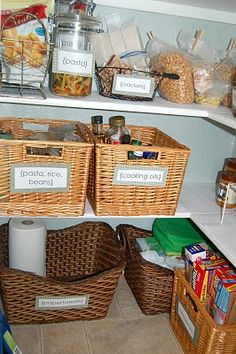 Labeled bins or baskets would really help with the extra deep shelves