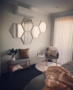 20 of the coolest Kmart hacks EVER! Hexagon mirror wall art, Kmart hack bedroom idea