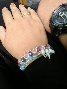 Amethyst rose crystal bracelet and aqua ica bracelet Made by me 😀