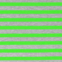 Neon Green Heather Gray Half Inch Stripe Cotton Jersey Blend Knit Fabric - A poppy neon green and heather gray stripes on cotton jersey poly rayon blend knit.  Fabric is soft with a nice drape and stretch, light to mid weight.  Stripes measure 1/2. :: $6.00