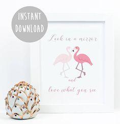 flamingo print wall art, teenage girl, art print, dorm room decor, flamingo poster, motivational poster, teen room decor, Digital Download