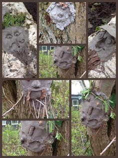 Clay faces on trees and stumps made by my 9/10 year olds at our Forest School.