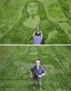 3D artist Chris Naylor used basic garden tools and a lawnmower to recreate a Mona Lisa in a South London lawn. Working with nature's canvas he carefully prepared the surface, trimmed the blades of grass and over the course of two days the woman with the enigmatic smirk came to life.