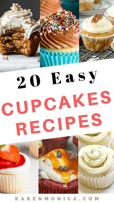 20 Moist And Fluffy Cupcakes Recipes - Karen Monica Maple Bacon Cupcakes, Easy Vanilla Cupcakes, Fluffy Cupcakes, Yummy Cupcakes, Moist Cupcake Recipes, Homemade Cupcake Recipes, Cupcake Flavors, Baking Recipes, Strawberry Filled Cupcakes