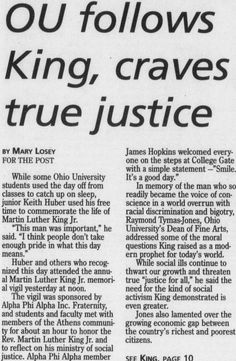 "Post (Athens, Ohio) January 18 2000. Page 1: ""OU follows King, craves true justice."" MLK Day coverage. :: Ohio University Archives"
