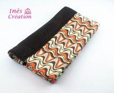 Porte chéquier réversible tissu velours marron et jersey courbes rétro/vintage : Porte-monnaie, portefeuilles par ines-creation