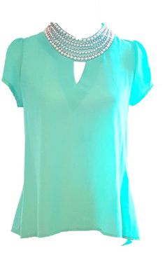 ELEGANT PEARL BEADS STATEMENT COLLAR MINT SHEER SHORT SLEEVE TOP/BLOUSE SIZE  L #Unbranded #Blouse #EveningOccasion