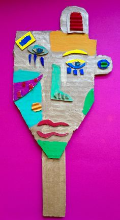 À la manière de Kimmy Cantrell  5ème année Cardboard Art, Tree Branches, Art Projects, Art Pieces, Symbols, Portrait, How To Make, Arts Plastiques, Headshot Photography