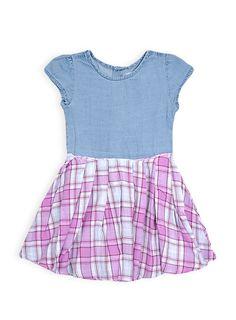 Pumpkin Patch - cap sleeve dress - 12-18m to 5 years #pumpkinpatchkids #denim #plaid